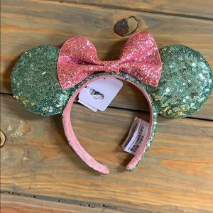 Minnie ears, mint with pink bow